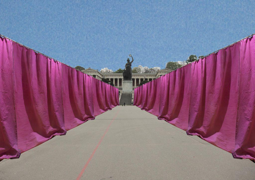 Stadtvorhang, Textile Intervention, Vorhang